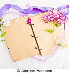 legno, vendemmia, fatto mano, quaderno, fondo, fiori, nastri