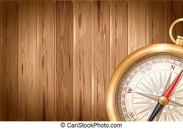 legno, vendemmia, fondo, bussola