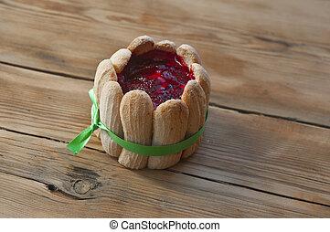 legno, vendemmia, fragole, fondo, cupcake