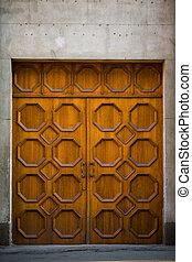 legno, vendemmia, pietra, porta, parete