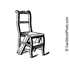 legno, vendemmia, sedia