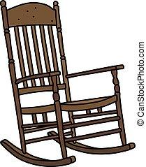 legno, vendemmia, sedia, oscillante