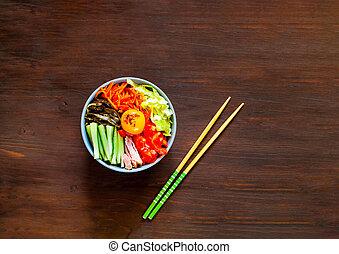 legno, verdura, manzo, tradizionale, fondo., cuisine., piatto, pietanza, coreano, uovo, bibimbap