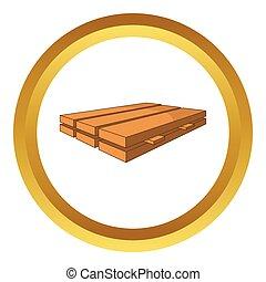 legno, vettore, assi, icona