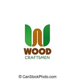 legno, vettore, distintivo, artigiano