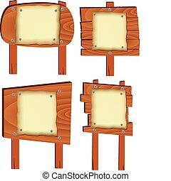 legno, vettore, elementi, segni