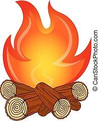 legno, vettore, fuoco