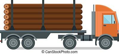 legno, vettore, isolato, legname, camion, illustrazione