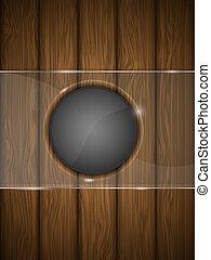 legno, vettore, vetro., illustration., fondo