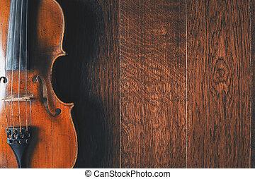 legno, violino, pavimento