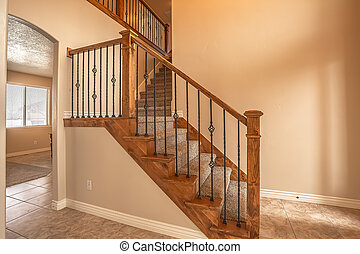 legno, vuoto, dentro, ringhiera, scale, ringhiera, metallo, casa, tappezzato, nuovo