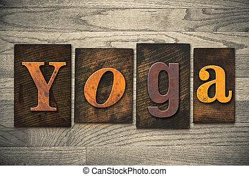 legno, yoga, concetto, tipo, letterpress