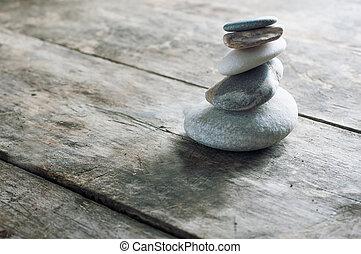 legno, zen, vecchio, asse, pietre