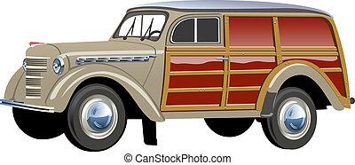 legnoso, furgone, retro