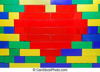 lego, 心, 上に, 壁