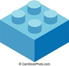 Lego cube piece icon, isometric style