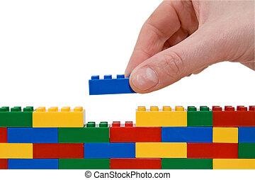 lego, hand, byggnad