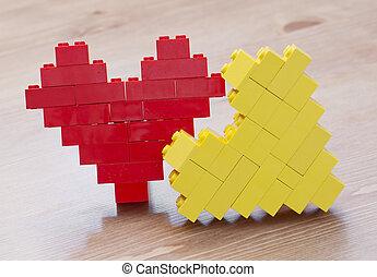 Lego heart - Hearts made of plastic bricks