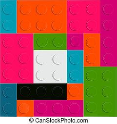 lego, patrón, seamless, ilustración, vector, bloque