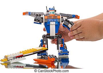 lego, -, robot, schepper