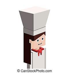 lego silhouette with half body female chef