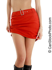 red skirt - legs and hips of tanned lady in red skirt