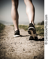 Legs and shoes of a runner - Photo of the legs and shoes of...