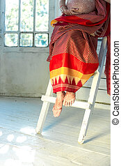 Legs decorated with indian mehandi painted henna - Indian...