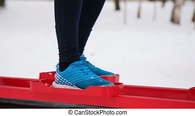 Legs girl in the park simulator