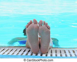 legs, heels in the pool