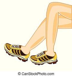 Legs in athletic footwear