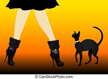 legs in black shoes with cat