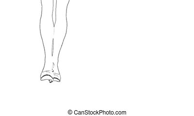 Legs in high heels outline sketch white background