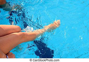 legs in pool