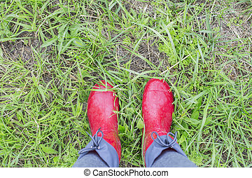 Legs in red rubber boots stand on green grass, top view