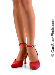 Legs in red shoes isolated on white background