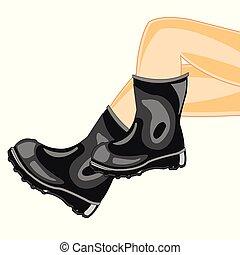 Legs in rubber boot