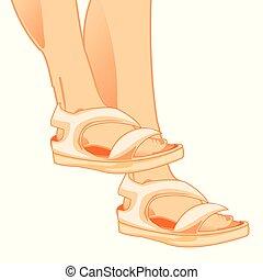 Legs in sandal