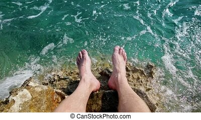 Legs in the water slow motion from 120fps
