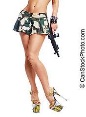 legs of a dancer soldier - legs of a beautiful striptease...