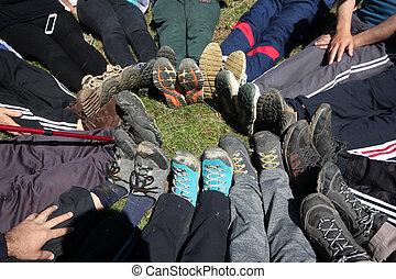 Legs of alpinist