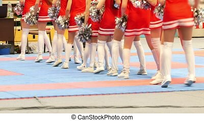 Legs of cheerleaders in red dresses dancing at the karate...