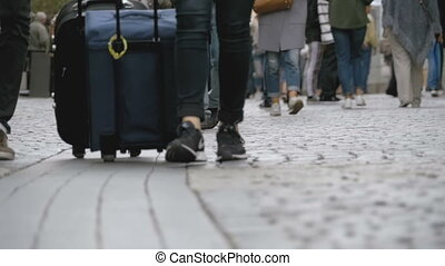 Legs of Crowd People Walking on the Street in Slow Motion -...
