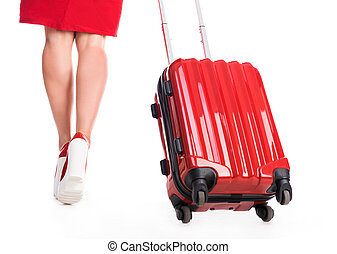 girl going away with suitcase