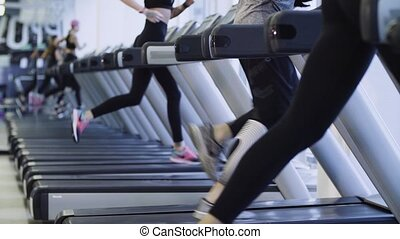 Legs of people running on the treadmill