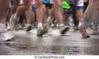 Legs of runners on XXX MOSCOW INTERNATIONAL PEACE MARATHON....