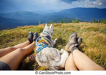 Legs of traveler sitting mountain in travel dog