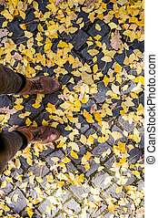 Legs of unrecognizable person in winter boots