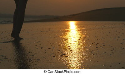 Legs of young woman going along ocean beach during sunrise. Female feet walking barefoot on sea shore at sunset. Girl stepping in shallow water at shoreline. Summer vacation concept. Close up Slow mo.