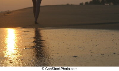 Legs of young woman going along ocean beach during sunrise....